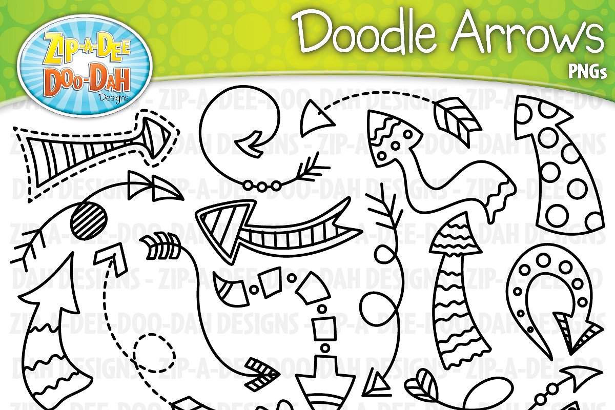 Arrow doodle clipart image free library Doodle Arrows Clipart Set 2 image free library
