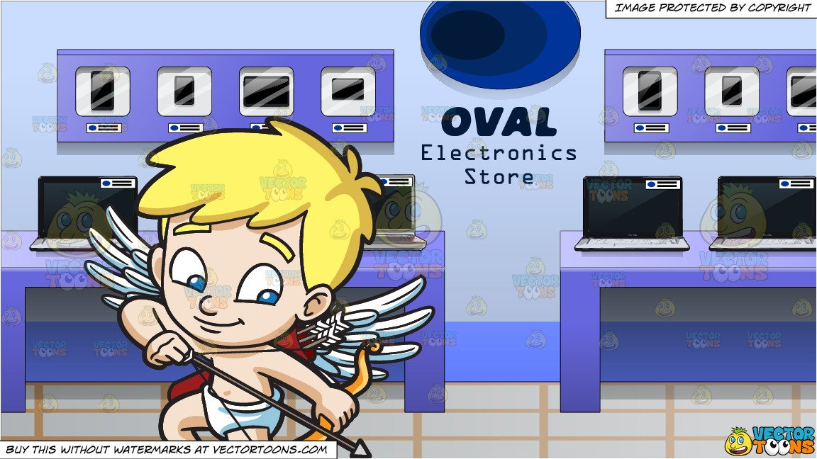 Arrow electronics clipart clip royalty free library Cupid Shooting Down An Arrow and A Variety Of Tech Gadgets On Display At An  Electronics Store clip royalty free library