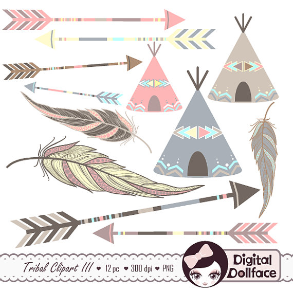 Arrow feather images clipart black and white Painted Feather Clip Art Arrow Clipart Tribal Aztec Digital black and white