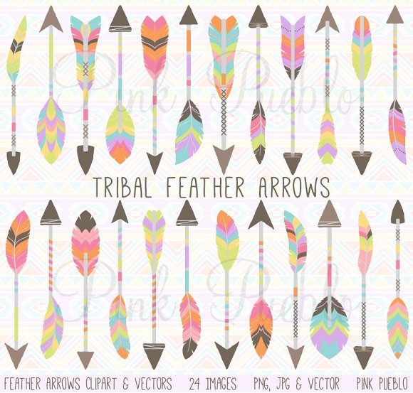 Arrow feather images clipart image freeuse download Tribal Feather Arrow Clipart Vectors ~ Illustrations on Creative ... image freeuse download
