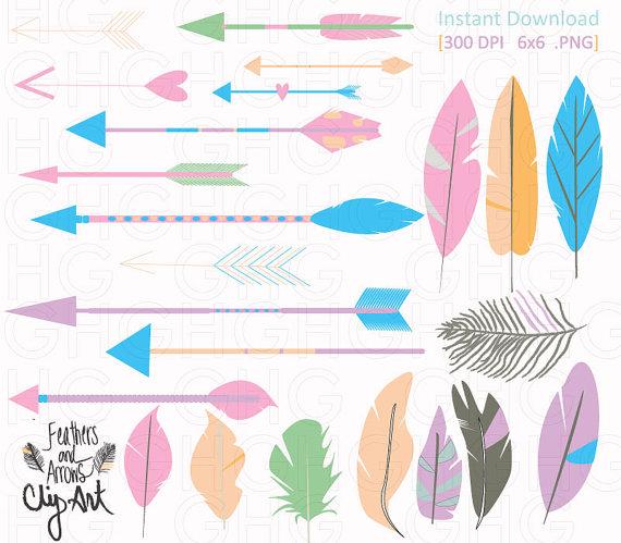Arrow feather images clipart transparent stock ClipArt Tribal Arrows and Feathers Pastel Feather Clipart transparent stock