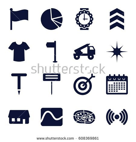 Shutterstock puzzlepix set icons. Arrow filled with stars clipart
