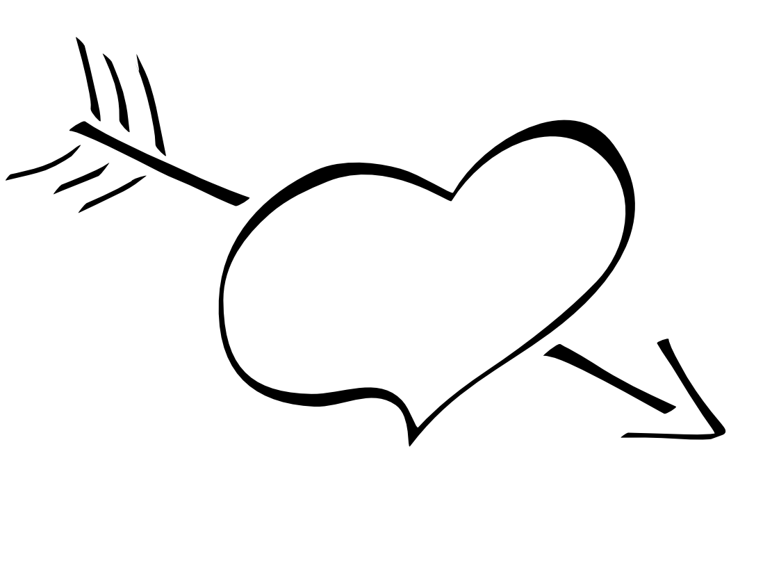 Heart clipart black and white outline vector royalty free library Black heart arrow clipart - ClipartFest vector royalty free library