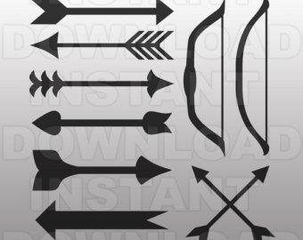 Arrow fletch clipart black picture black and white Bow and arrow art – Etsy picture black and white