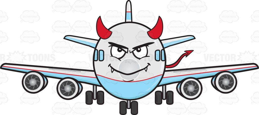 Arrow flite clipart picture royalty free Jumbo Jet Plane Smiling With Fangs Horns And Tail Emoji #aeroplane ... picture royalty free