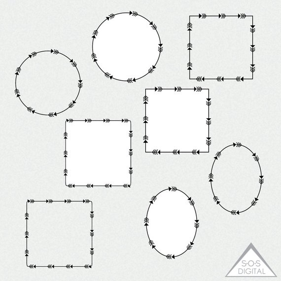 Arrow frame clipart clip free download Arrow Frames, Tribal Frames, Clipart Frames, Circle, Square, Oval ... clip free download