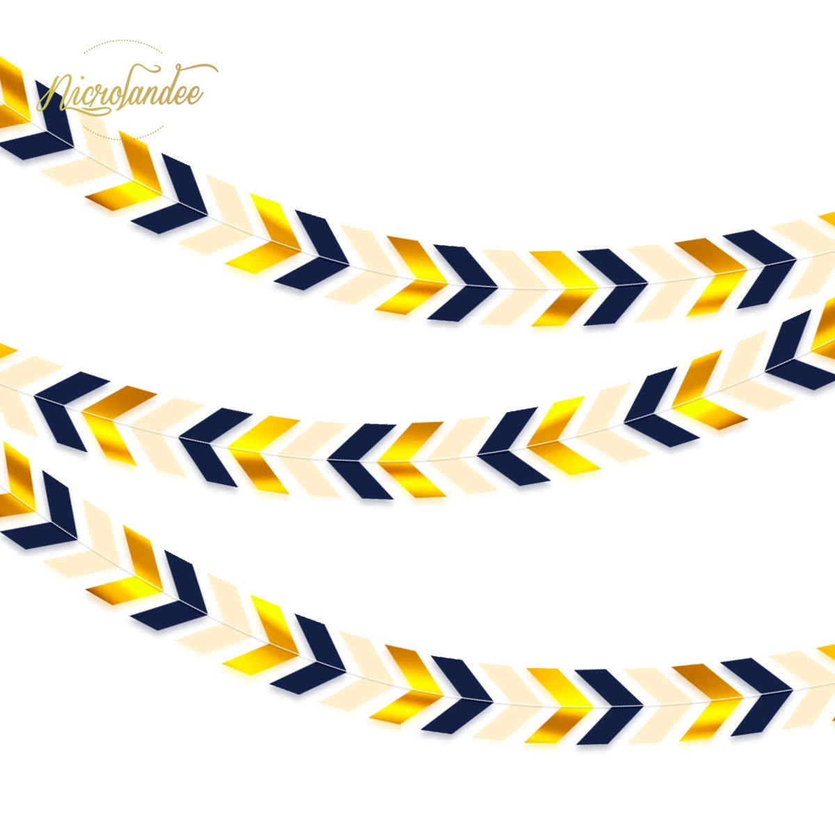Arrow garland clipart graphic freeuse NICROLANDEE 3pcs Blue and Gold Party Banner Navy Blue Arrow Paper Banner  Garland Navigation Design Wall Window Streamer for Baby Shower Birthday ... graphic freeuse