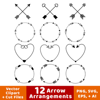 Arrow hear clipart jpg transparent download 12 Arrows Clipart- Arrow Wreath Clip Art, Arrow Heart Clipart, Crossed  Arrows jpg transparent download