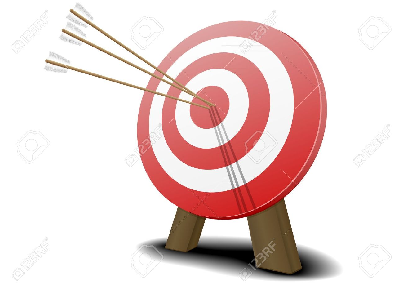 Arrow hitting target clipart picture library Illustration Of A Red Target With Three Arrows Hitting The Center ... picture library