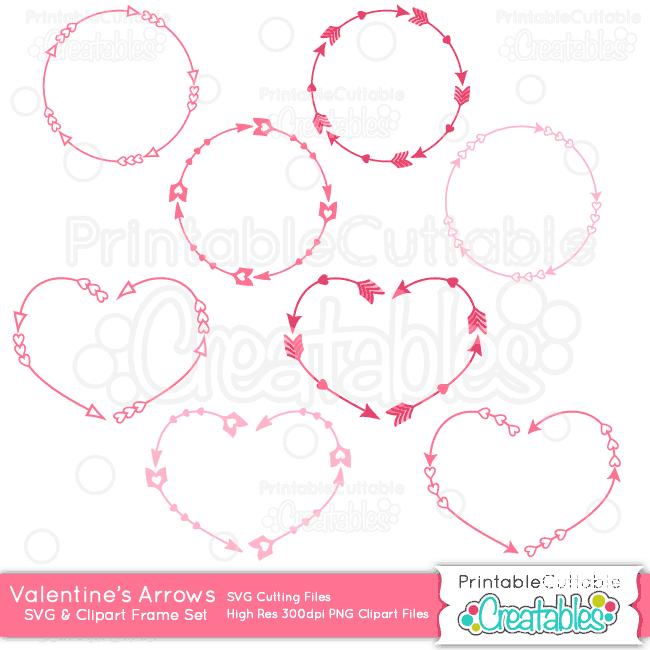 Arrow monogram circle clipart clip download Valentine Monogram Arrow Frames SVG Cutting Files & Clipart clip download