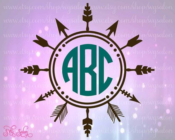 Arrow monogram circle clipart clip art free Native American Arrow Circle Monogram Frame Cutting by SVGSalon ... clip art free