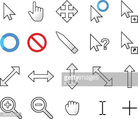 Mouse cursor pointers vector. Arrow pointer clipart modern
