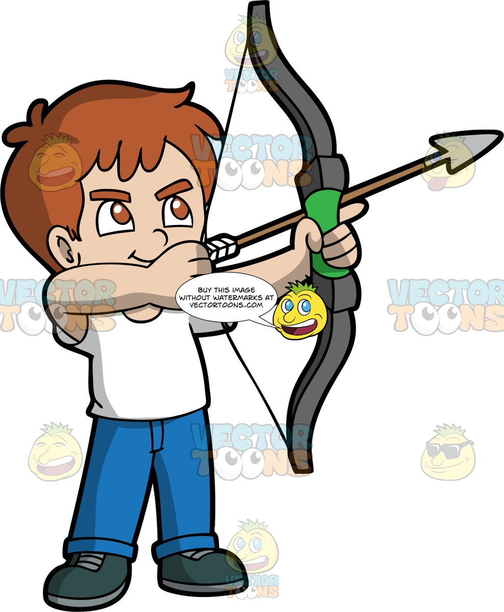 Arrow pointing to hair clipart jpg black and white stock Light Skin Boy With Brown Hair Holding A Bow And Arrow jpg black and white stock