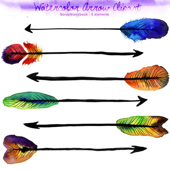 Arrow printable clipart picture royalty free Watercolor Arrow Clipart - digital printable clipart - 300 dpi PNG ... picture royalty free