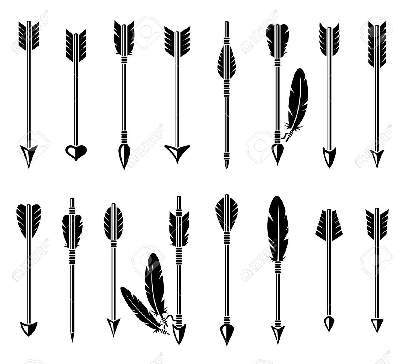 Arrow silhouette clipart clipart royalty free stock 1,154 Medieval Bow And Arrow Stock Vector Illustration And Royalty ... clipart royalty free stock