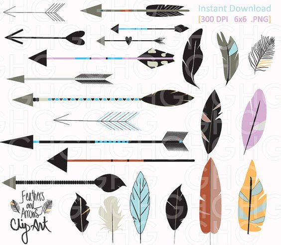 Arrow with feather clipart clipart black and white stock Digital ClipArt Tribal Arrows and Feathers by GraceHarveyGraphics ... clipart black and white stock