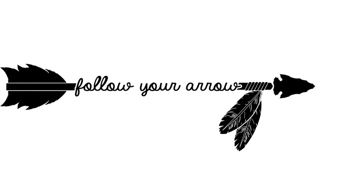 Follow you soft cursive. Arrow with feathers clipart