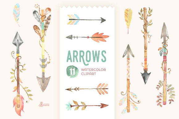Arrows watercolor watercolors and. Arrow with feathers clipart
