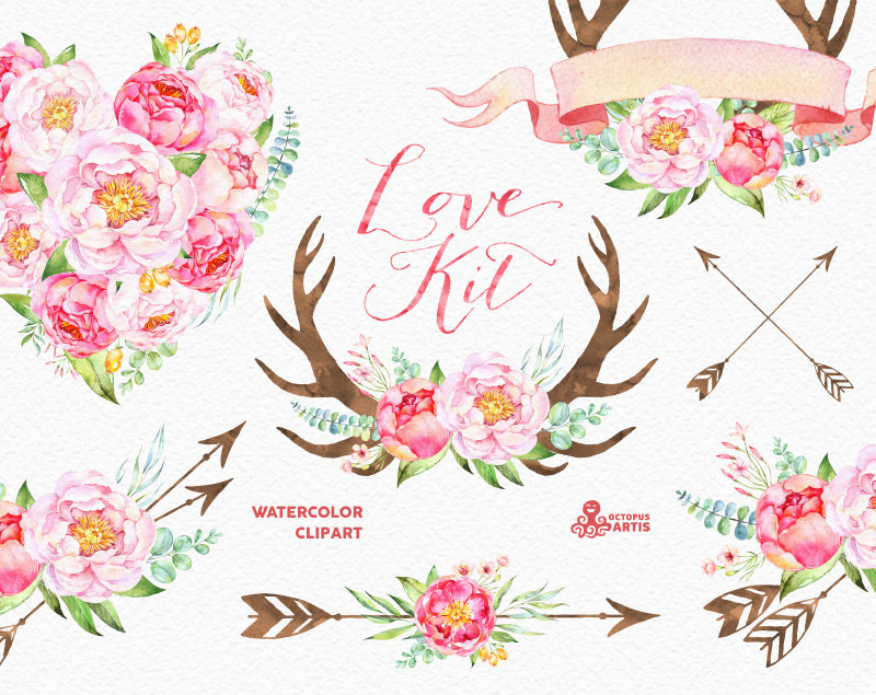 Qu free download clip. Arrow with flowers clipart
