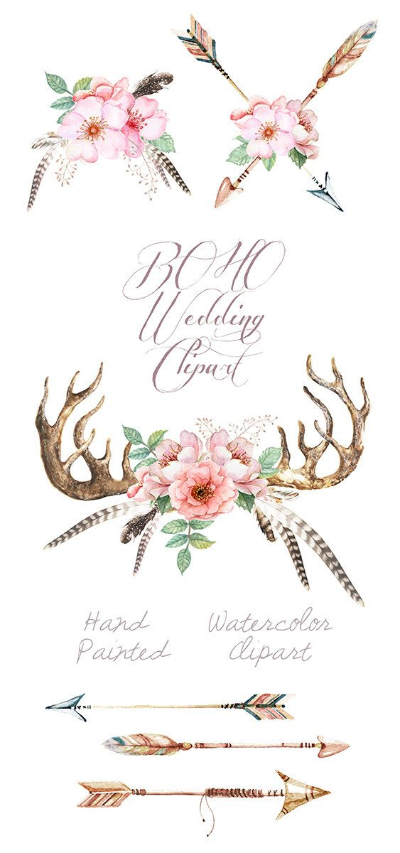 Arrow with flowers clipart clip art library Watercolor Wedding Clip Art Antlers, Stag horns, Arrows, Feathers ... clip art library