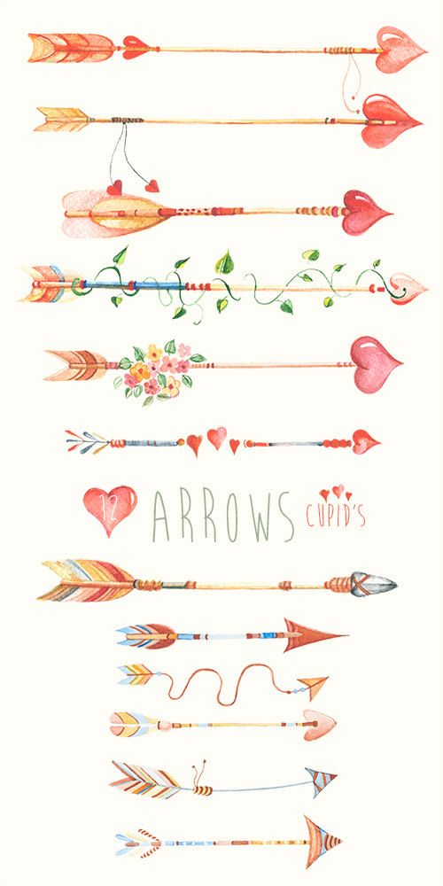 Arrow with flowers clipart free download Arrows Сupid's, Hand Drawn Watercolour Clipart. DIY elements ... free download