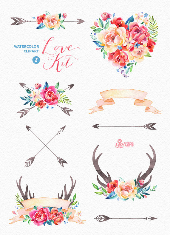 Watercolor diy pack vol. Arrow with flowers clipart