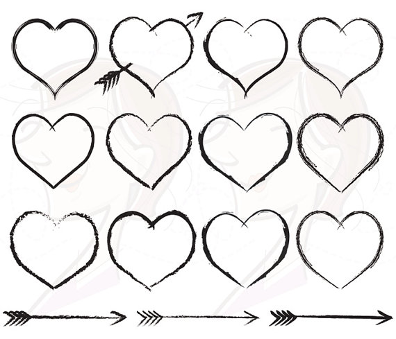 Arrow with heart clipart vector Rustic Arrows And Heart Clipart - Clipart Kid vector