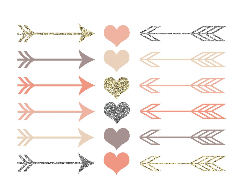 Arrow with heart clipart vector transparent Rustic Arrows And Heart Clipart - Clipart Kid vector transparent