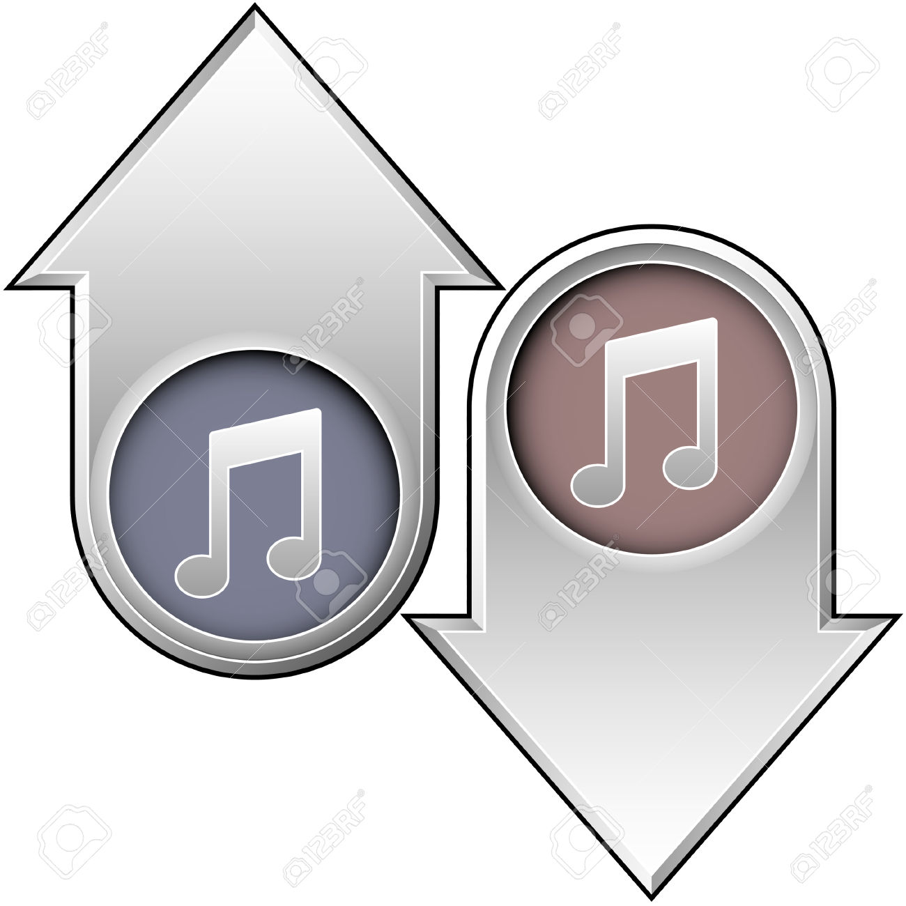 Arrow with music note clipart free library Music Notes Icon On Up And Down Arrow Buttons Royalty Free ... free library
