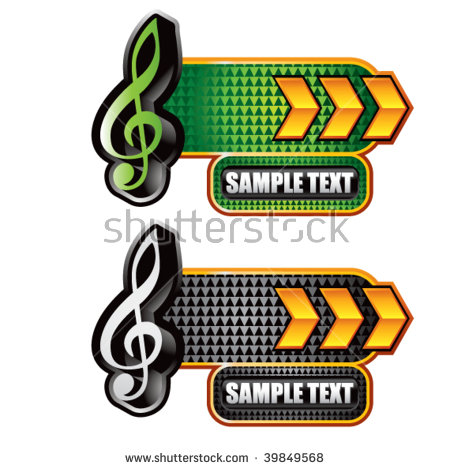 Arrow with music note clipart jpg royalty free library Music Note Icon On Gold Arrow Nameplate Banners Stock Vector ... jpg royalty free library
