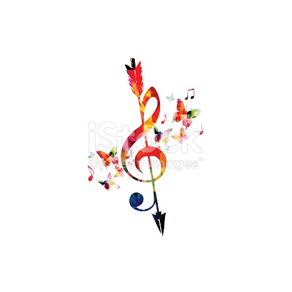 Arrow with music note clipart png free download Colorful Gclef With Arrow And Music Notes Isolated stock vector ... png free download