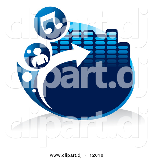 Arrow with music note clipart clip transparent Vector Clipart of a Blue Icon with Music Notes, a Person, Arrow ... clip transparent