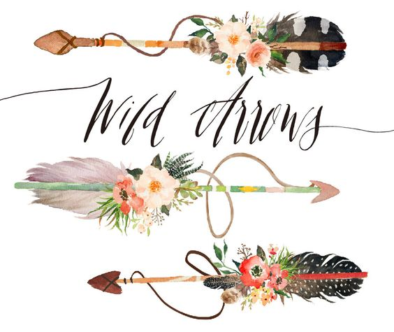 Arrow with three feathers clipart clipart transparent library Watercolor wild arrows clip art /hand drawn от GraphicSafari ... clipart transparent library