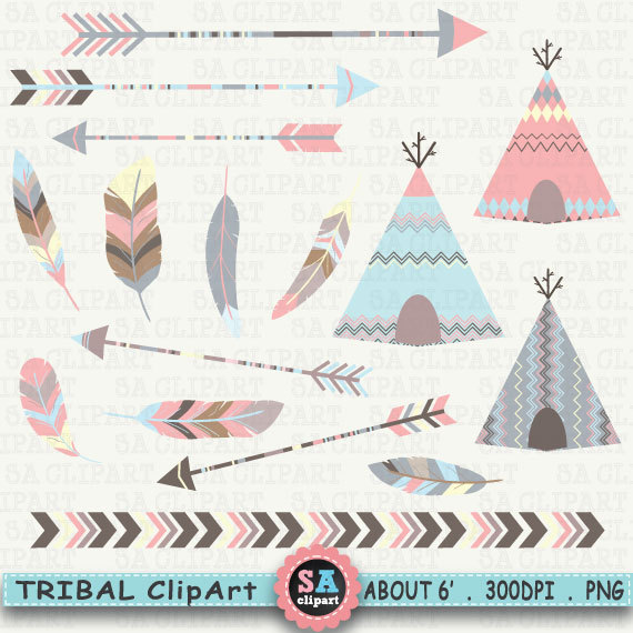 Arrow with three feathers clipart banner freeuse download Tribal clipart - teepee feathers clip art ethnic deer dreamcatcher ... banner freeuse download