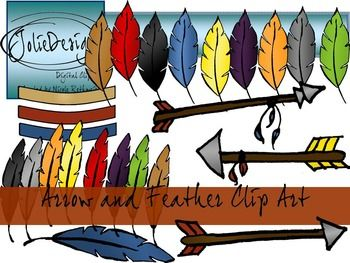 Arrow with three feathers clipart clip freeuse Arrow and Feather Clip Art- Color and Line Art 30pc set clip freeuse