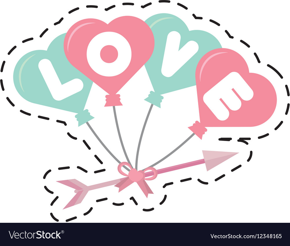 Arrowcut clipart picture transparent library Love card hearts balloons hang with arrow cut line picture transparent library
