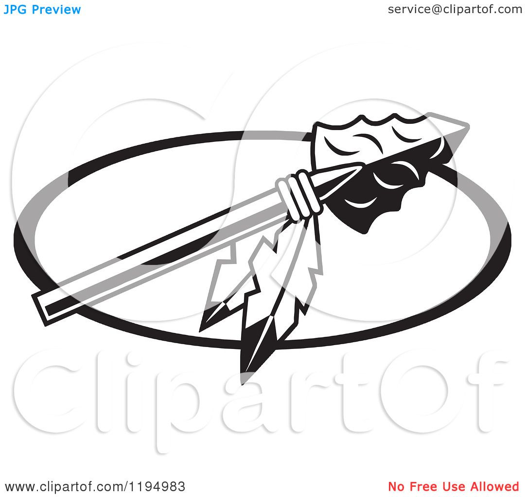 Arrowhead clipart black png free Clipart of a Black and White Arrowhead with Feathers for Warriors ... png free