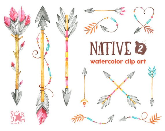 Arrowhead with feather clipart image royalty free stock Native 2. Arrows. Watercolor clipart, indian, feathers, american ... image royalty free stock