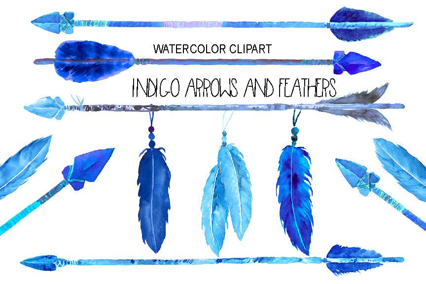 Arrows and feathers clipart svg library library Watercolor indigo arrows and feathers for instant download svg library library