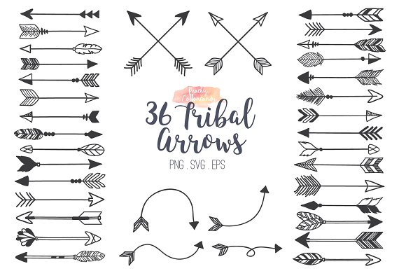 Black and white clipart of trible arrows clip transparent Tribal Arrows Clipart clip transparent