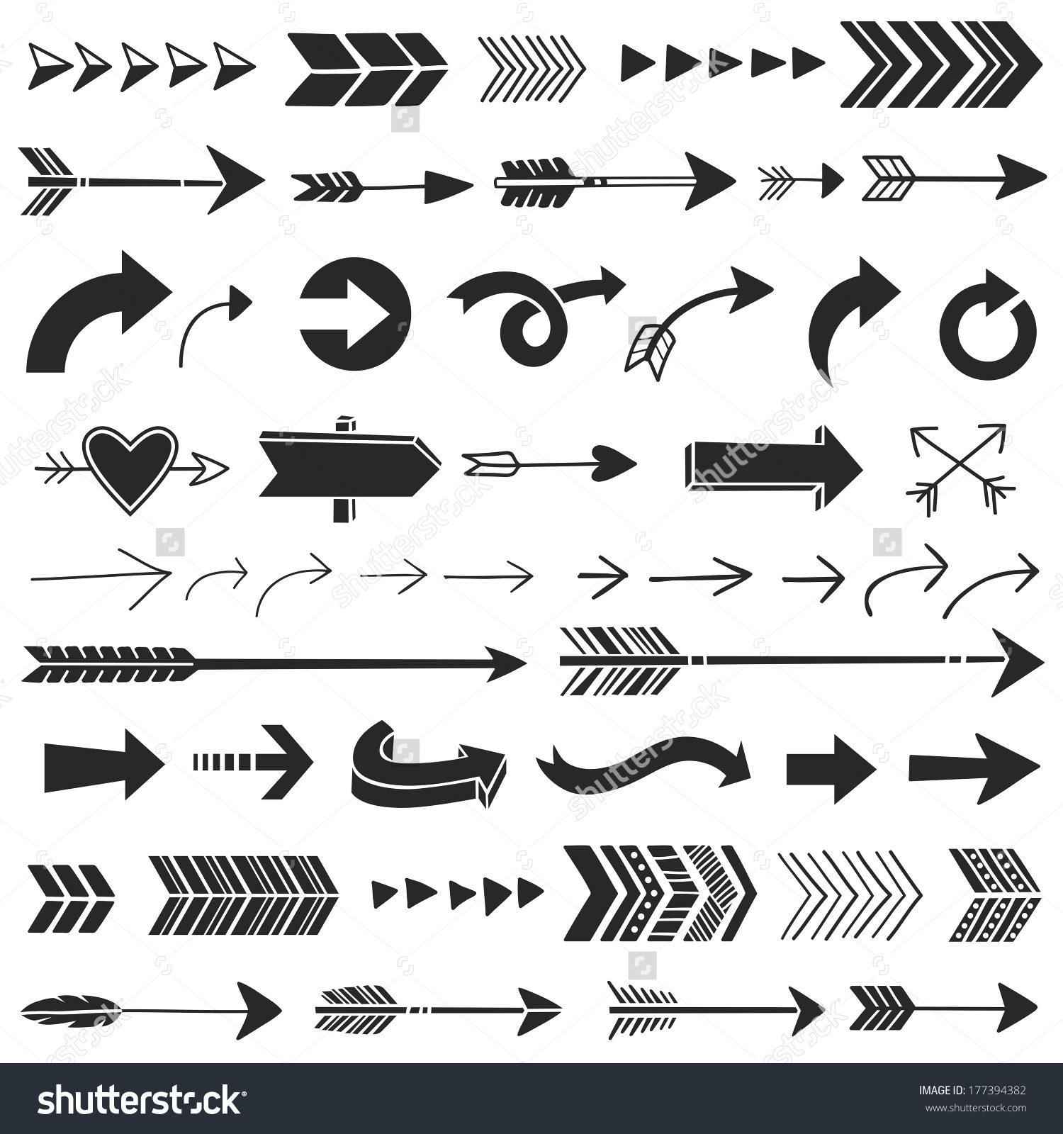 Arrows graphic. Hand drawn stock vector