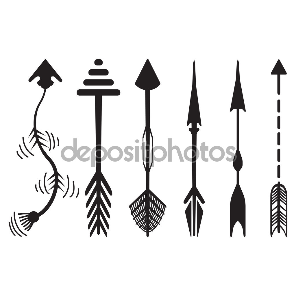 Arrows graphic. Hand drawn set stock