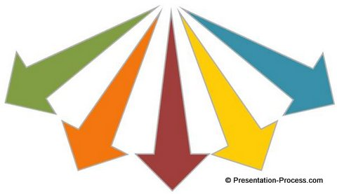 Arrows image image royalty free stock Diverging 3D arrows in PowerPoint image royalty free stock