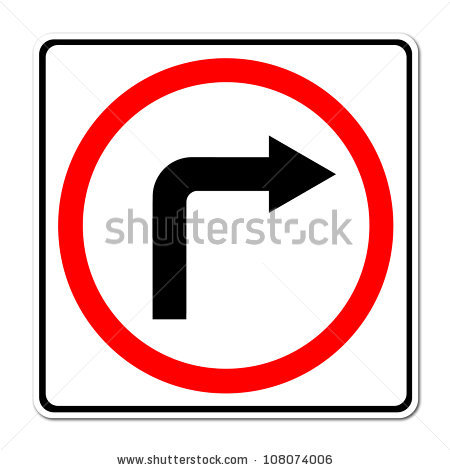 Arrows to show turning clipart. Right turn arrow stock