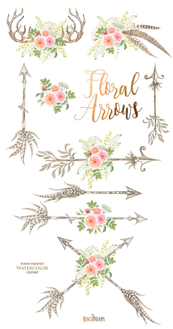 Arrows with flowers clipart png Watercolor Flowers Clipart, feathers, horns, antlers, arrows, roses ... png