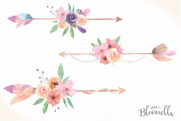 Arrows with flowers clipart royalty free stock Floral Arrows Watercolor Clipart royalty free stock