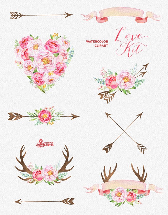 Arrows with flowers clipart svg transparent Love Kit. Watercolor flowers Clipart, peonies, arrows, antlers ... svg transparent