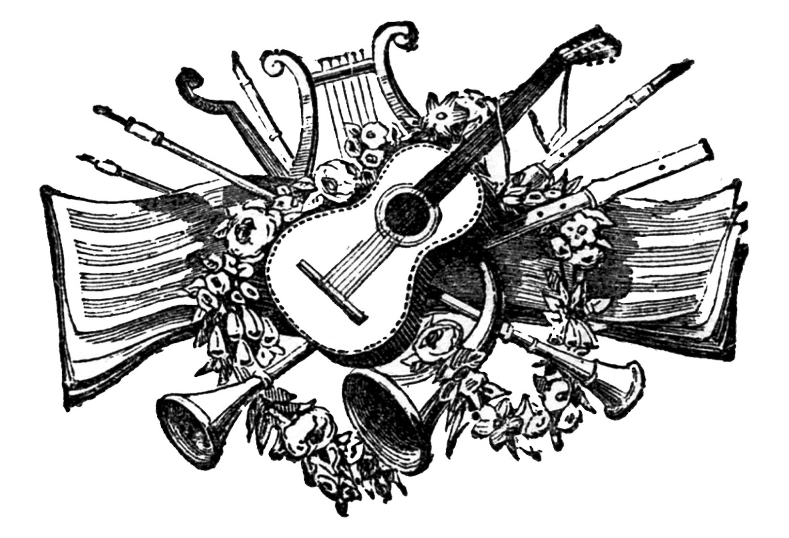 Art and musci clipart clipart black and white library Vintage Clip Art - Antique Musical Printers Ornaments - The Graphics ... clipart black and white library