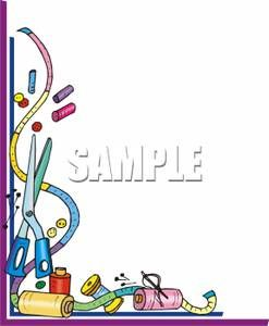 Art borders clip art image freeuse Clip Art Sewing Border | Measuring Tape and Assorted Sewing ... image freeuse