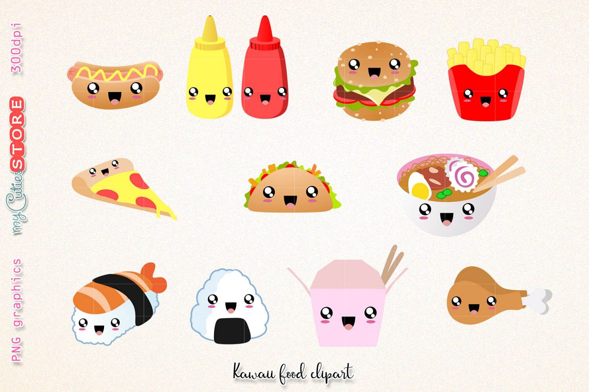 Clipart scraps picture royalty free stock Fast food clipart, cute kawaii dinner clipart and digital stamps. png  graphics clip art set for planner stickers, scraps or digital planning. picture royalty free stock
